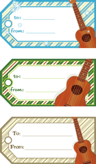 Ukulele Holiday Gift Tags