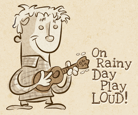 On Rainy Day Play LOUD-ukulele-cartoon