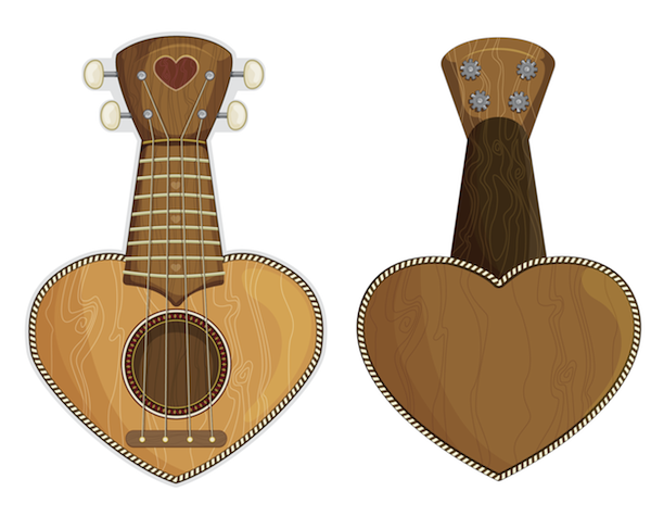 ukulele heart - front and back views