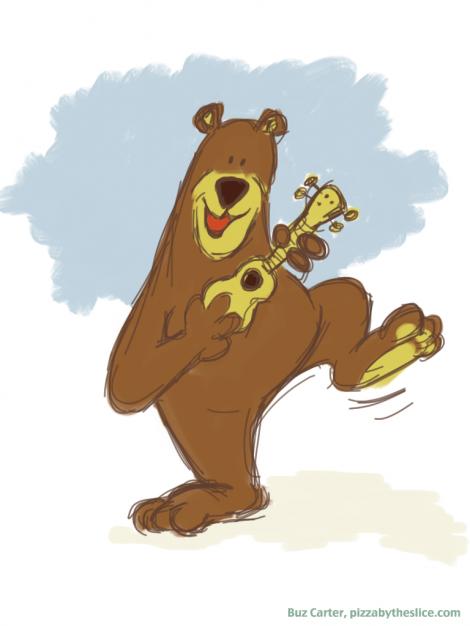 Yosemite Bear Playing Ukulele Sketch #1