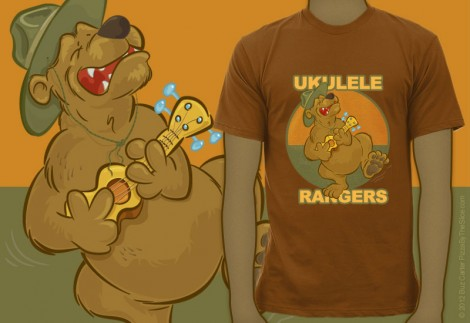 sample t-shirt, ukulele playing and singing bear