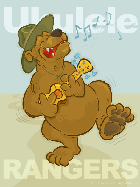 Ukulele Rangers Singing Bear mascot iPad wallpaper (retina display)