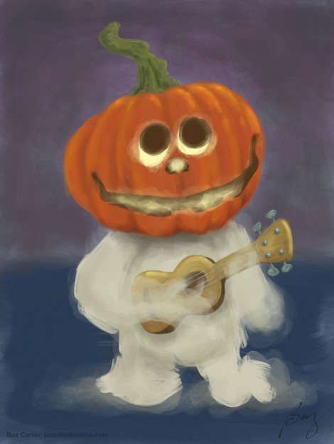 Halloween Jack-o-lantern pumpkin ukulele playing ghost illustration