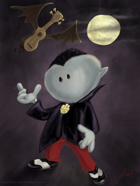 vampire and ukulele-bat illustration