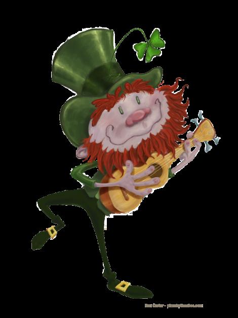 dancing leprechaun with ukulele transparent