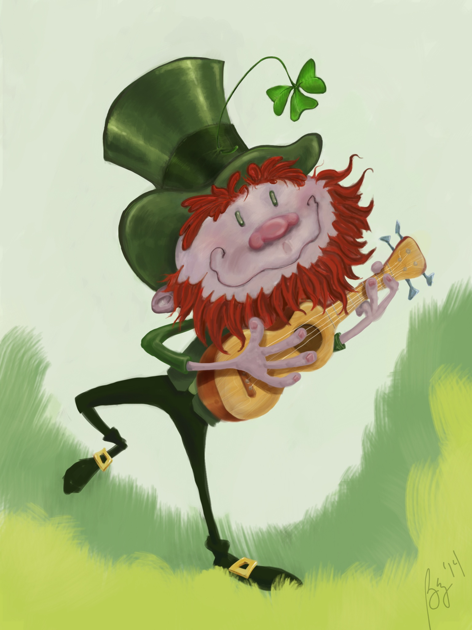 Leprechaun Dancing With His Ukulele Pizza By The Slice