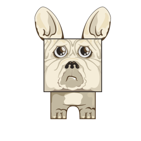 Demon, French bulldog papercraft