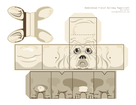 Demon, the French bulldog papercraft template