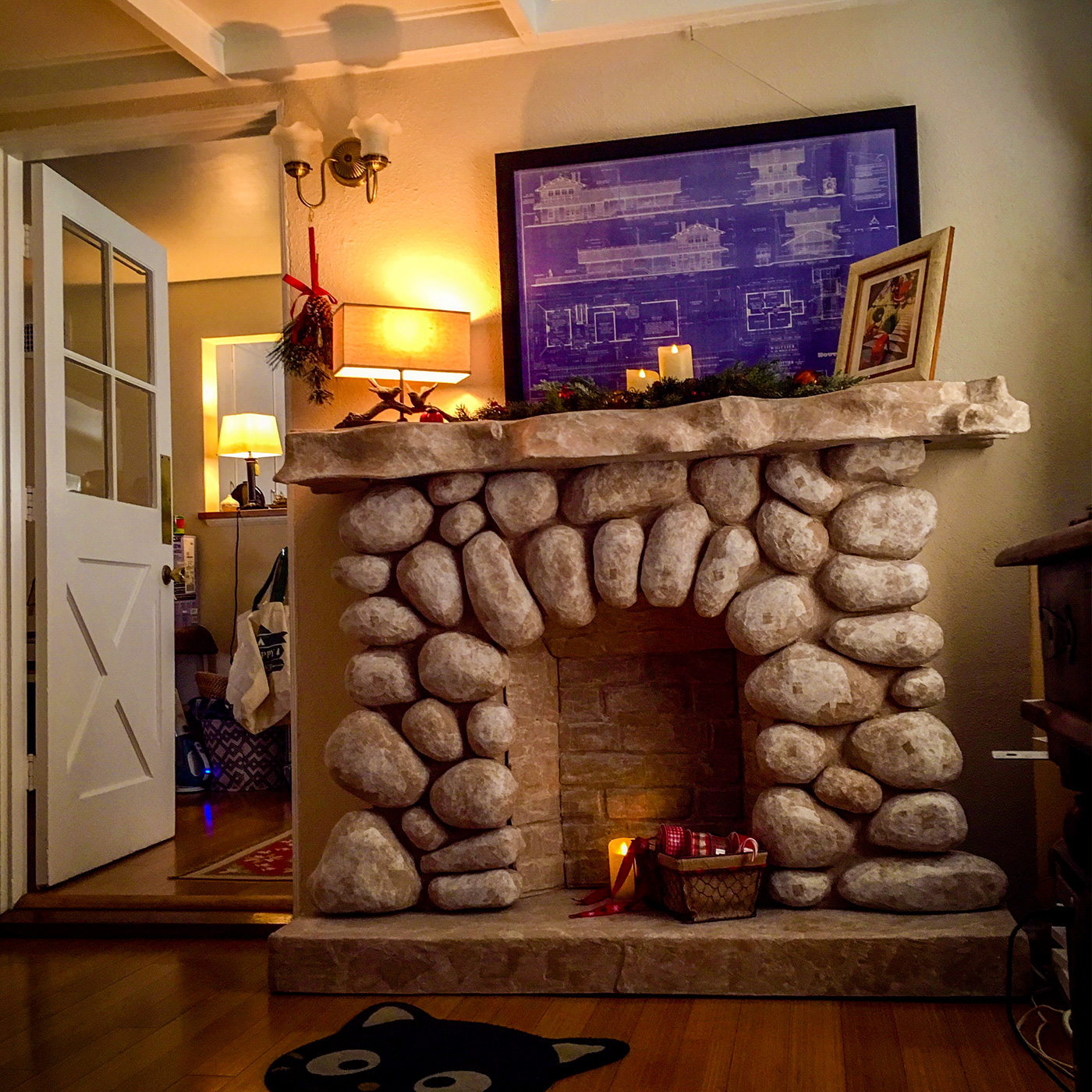 a diy paper mache fireplace pizza by the slice